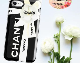 Black Chanel iPhone Case, Chanel Box, Watercolor Phone Case, iPhone X 6 7 8 Plus, Samsung Galaxy Case, Luxury Fashion Designer Phone Wallet