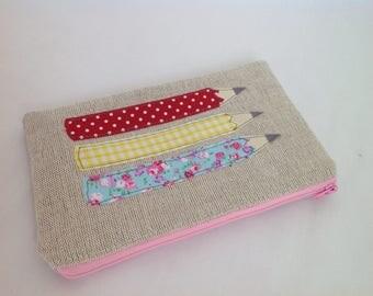 Natural Linen Appliqué Pencil Case, Accessory Purse, Children's Pencil case, Teacher's Gift