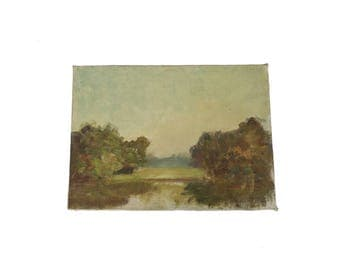 Antique 10 x 14 Tree and Lake Landscape Oil Painting Art
