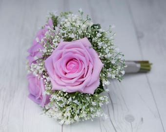 Wedding Lilac Purple Lavender Natural Touch Roses And Babys Breath Silk Flowers Bridal Bouquet