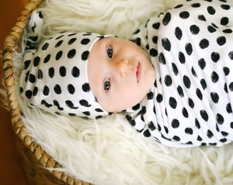 Dotty Swaddle Blanket and Hat Set / Knit Swaddle