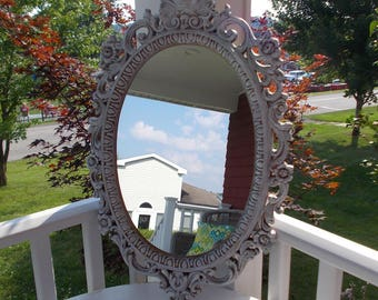 Ornate French Cottage Destressed Mirror Shabby Chic at Ancient of Daze