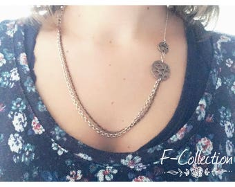 Double bohemian necklace silver chain