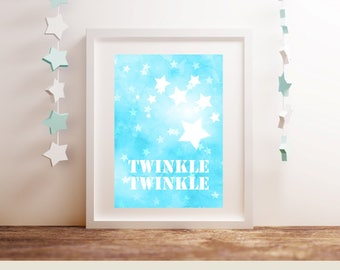 TWINKLE STAR A4 Printable Children's Bedroom or Nursery Baby Girl Boy Playroom Shower Wall Home Decor Aqua Star Print Instant Download