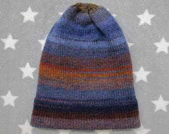 Knit Hat - Midnight Blue Grey Brown - Slouchy Beanie