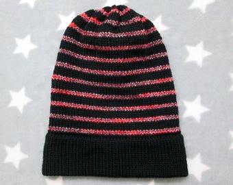 Knit Slouchy Hat - Black & Red Glitter Stripes