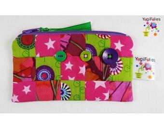 patchwork coin purse, patchwork change purse, patchwork zipper bag, patchwork  little pouch, pink green purple coin purse, colored pouch