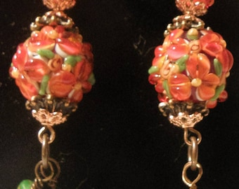 Orange Floral and Ribbed Lampwork With Czech Leaves Earrings