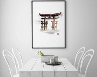 Torii gate, Japanese travel, Watercolor landscape, Japanese temple, Fuji mountain, Japan, Japan poster, Zen artwork
