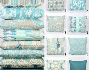 Aqua Pillow Cover, Aqua Throw Pillow, Aqua Pillow, Teal Pillows, Nautical Pillows, Coordinating Pillows, Cushion Cover, Zipper Pillow