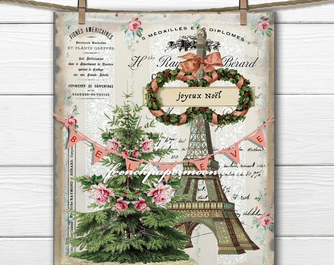 Digital Believe in Christmas Graphic, Shabby Roses, French Typography, Christmas Pillow, Printable Graphic Transfer Image 0115