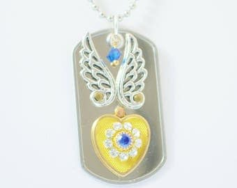 Heart of Gold Riveted Dog Tag Necklace