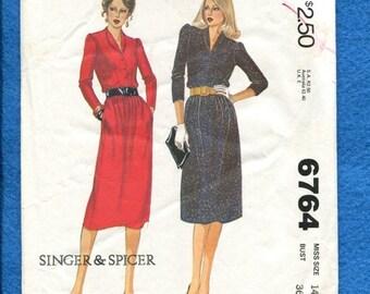 15% OFF SALE 1970's McCalls 6764 Elegant Designer Shirt Dress Size 14