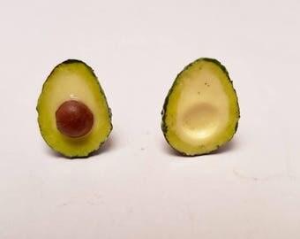 Avocado - Large Avocado studs - avocado polymer clay earrings - Fruit studs - polymer clay studs  - kawaii - vegan earrings - studs