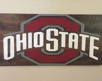 Ohio State Sign- Block O Sign- Graduation Gift- Dorm Decor- Housewarming Gift- Buckeye Wall Art- Man Cave Decor