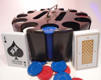 300 Chip Capacity Pattberg Wood Poker Caddy on Swivel With Cover, Chips and Cards