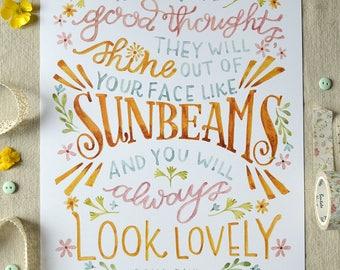 Roald Dahl Art Print/ Roald Dahl Quote/ Childrens Art/ Nursery Art/ Nursery Decor/ Book Art/ Watercolor Quote Art/ Sunbeams- 8x10
