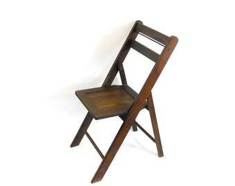 Vintage Dark Wood Folding Chair, Wooden Slatted Chair