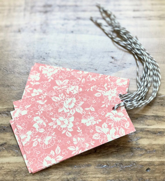 soft red floral print gift favor tags 8 count