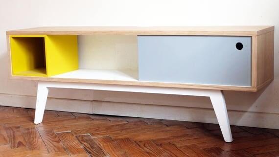 Console basse meuble tv grise et jaune for Console meuble tv