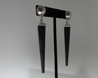 Statement Black Earrings, Bold Earrings, Black Wood Earrings, Bold Statement Earrings, Black Art Deco Earrings. Statement Wood Earrings