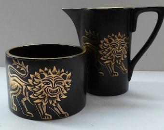 Very Rare Gold Lion Sugar Bowl & Milk Jug: PORTMEIRION. Designed by Susan Williams-Ellis 1962