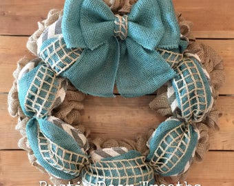 Burlap Wreath / Beach Wreath / Front Door Wreath / Turquoise Chevron Wreath / Turquoise Burlap Wreath