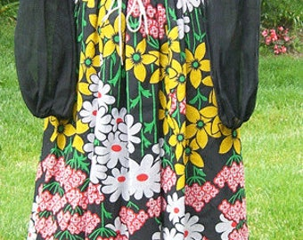 SALE - 1970's Vintage Designer Howard Wolf For Franklin Simon New York Floral Women's Dress - SALE