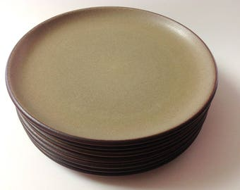 Vintage Edith Heath Dinner Plates, Set Of 7, Heath Ceramics California Pottery Sand, Brown, Large Plates, 7
