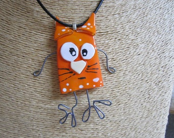 Collar type necklace in glass fusing, glass cat orange