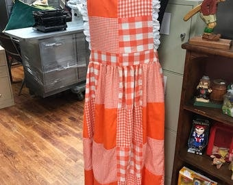 orange gingham apron