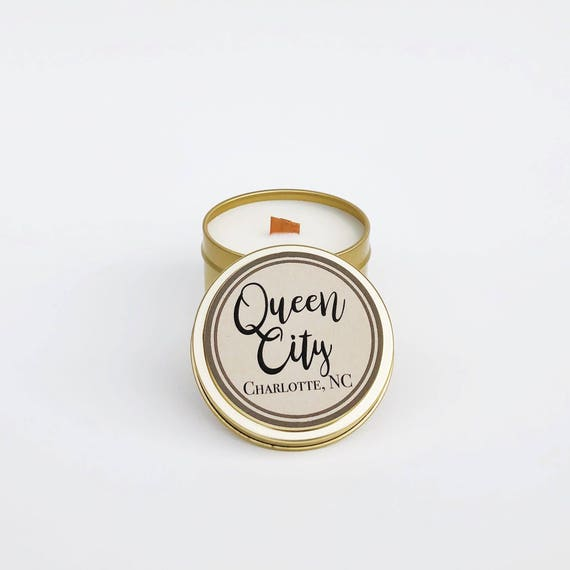 Queen City Candle | 6oz Travel Soy Candle | Wood Wick Candle | Southern Fragrances | Neighborhood Candle | Charlotte North Carolina