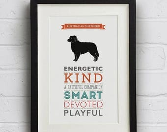 SALE 20% OFF Australian Shepherd Dog Breed Traits Print - Great gift for Australian Shepherd lovers!