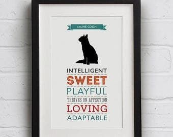 SALE 20% OFF Maine Coon Cat Breed Traits Print - Great Gift for Maine Coon Cat Lovers