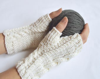 Merino Cable Knit Fingerless Gloves, Custom Boho Knitwear, Gifts for Her, Wool Hand Warmers, Gifts Under 40, Wrist Warmers, Texting Gloves,
