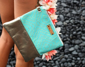 Leather Wristlet - Gold Clutch - Gold Clutch Purse - Gold Purse - Turquoise Clutch - Bridesmaid Clutch - Wristlet - Small Purse