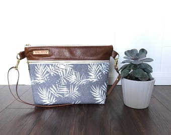 Palm Leaf Print and Leather Cross body purse, Leather Purse, Leather Messanger Bag, Leather Shoulder Purse, Leather Shoulder Bag,