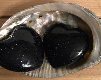 Blue Goldstone Puffy Heart, 45mm, Healing Stone, Healing Crystals,Chakra Stone, Spiritual Stone