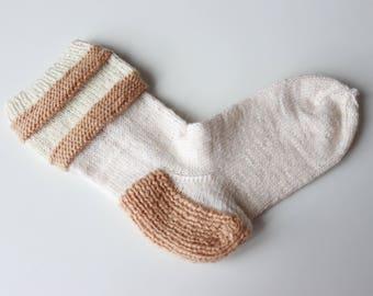 White wool socks White socks Hand knitted socks Women socks Women warm socks Stripped socks Socks white Socks wool Socks woman