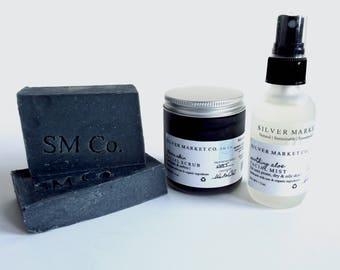 CHARCOAL SET | For Oily & Acne Prone Skin | Soap | Facial Scrub | Facial Mist