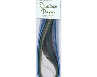 "Quilling Paper .125"" 80/Pkg  blue green colors"
