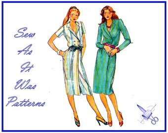 """FF Uncut 1970s Butterick 6966 Double Breasted Wrap Dresses Notched Collar Long Short Sleeves Vintage Sewing Pattern Size 12 Bust 34"""" 87cm"""