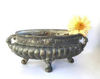 Amazing French Antique Iron Planter Medicis Cast iron URN in low relief Late 1800s