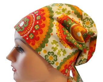 Scrub Hat Cap Chemo Vet Nurse Dr Hat European Pixie  Tie Back Style Orange Medallion 2nd item ships Free