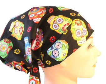 Scrub Hat Cap Chemo Bad Hair Day Hat  European BOHO Sugar Cantina Skulls 2nd Item Ships FREE