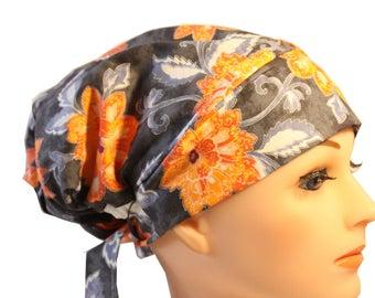 Scrub Hat Cap Chemo Bad Hair Day Hat  European BOHO Purple Orange Paisley 2nd Item Ships FREE