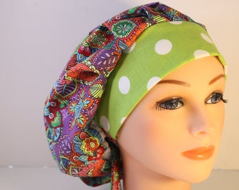Scrub Cap Surgical Hat Chef   Dentist Hat Bouffant Purple Butterfly Floral Red Blue Pink Orange  Lime 2nd Item Ships FREE