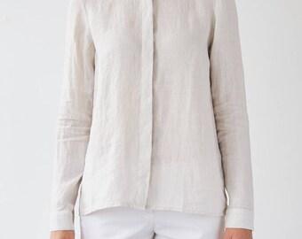 Beige Heather Linen Shirt