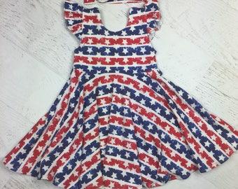 Patriotic Twirl dress, Stars and Stripes circle dress, 4th of July Dress