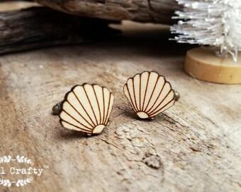 Clam Shell Wooden Cufflinks Seashell Dad Grooms Best man Groomsman Rustic Wedding Birthday Gift Cuff links